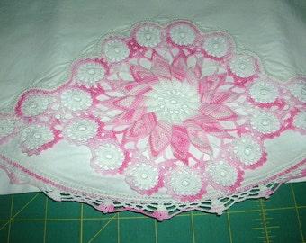 Vintage Cotton Linen Decorative Crocheted Pinwheel Style Hem Edge Pillowcase Circa 1950's Shabby Chic