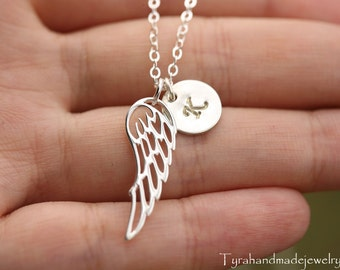 Angel wing Necklace,initial necklace,monogram necklace,silver wing necklace,sister gift,memorial necklace,Best friend gift,Bridesmaid gift
