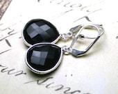 ON SALE - Genuine Faceted Black Onyx Earrings - Sterling Silver and Onyx Teardrop Earrings - Sterling Silver Leverbacks - Last Pair