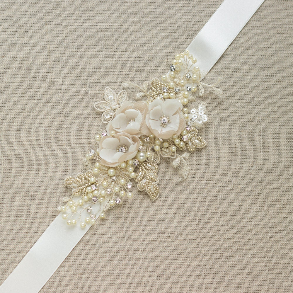 Champagne wedding belt bridal belt wedding dress belt sash for Ivory wedding dress sash