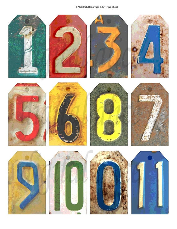 Old RUSTY METAL NUMBERS Vintage Number tags Instant