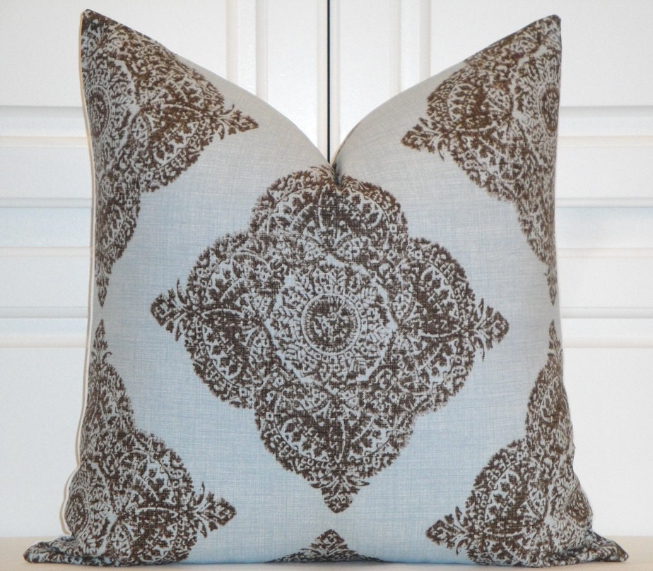 Duralee Fabric Decorative Pillow Cover Diamond Blue and