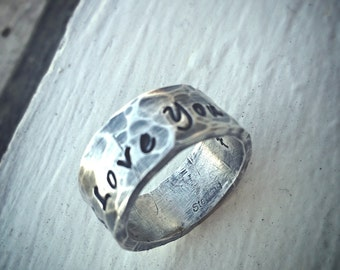Birth Designs -Custom Thick Sterling Silver Ring - Engraved Both Inside and Outside