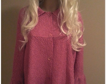 Pink Crepe Oversize Jacket with Bell Sleeve and Peter Pan collar