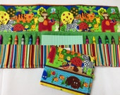 NEW Safari Crayon Tote in a colorful print complete with 12 crayons and a paper pad