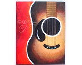 Fine Art, SMILING GUITAR No.2,11x14 acrylic canvas, Art for Home & Office