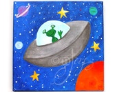 Kids room wall art, FLYING SAUCER Wall Art for Boys room,12x12 acrylic canvas, painting for kids