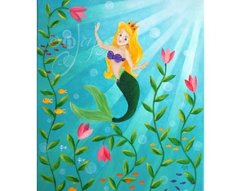 Children's Art for Girls Room, MERMAID PRINCESS, 16x20 Acrylic Canvas, Nursery Decor