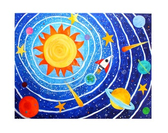 Space painting for childrens room, Solar System #7, Art for Kids, 24x18 Acrylic Canvas Painting for kids room