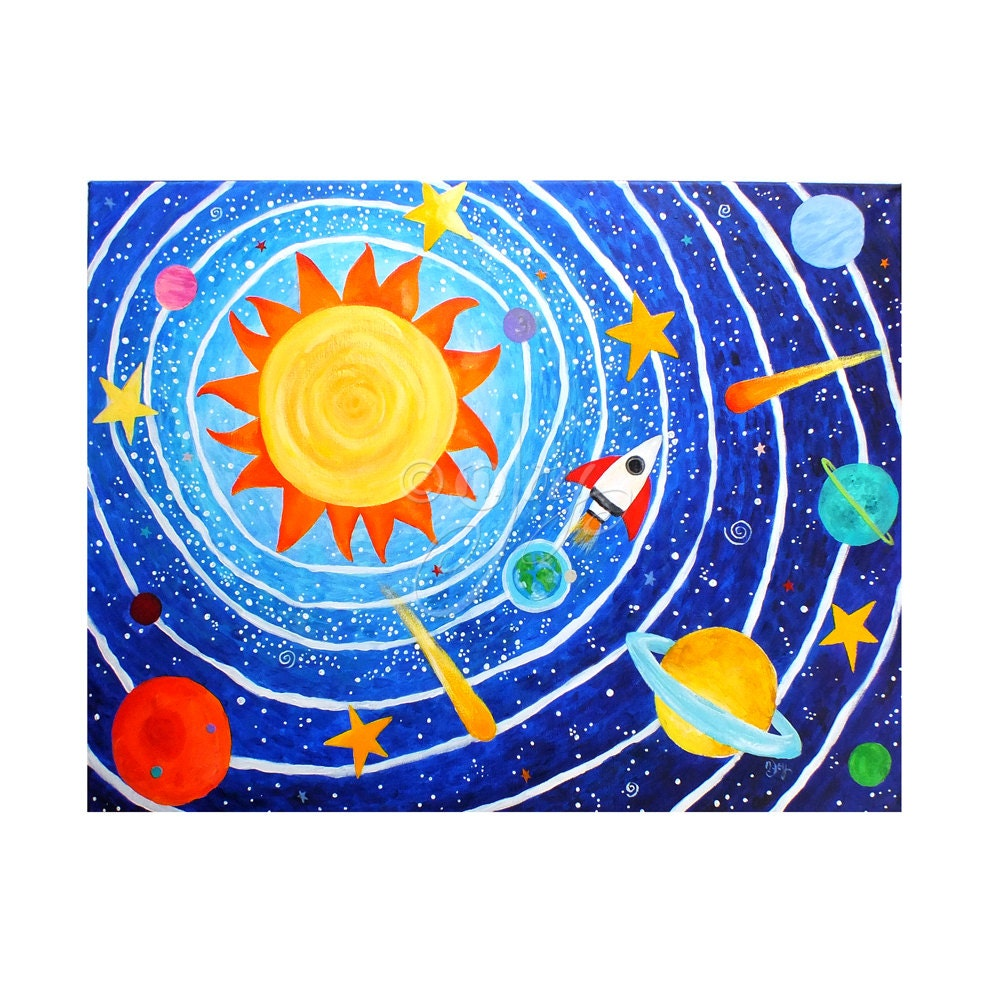 Space painting for childrens room solar system 7 art for for Creation mural kids