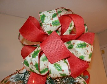 Large  red and off white with Holly leaves and berries Burlap Ribbon Christmas Tree Topper Bow