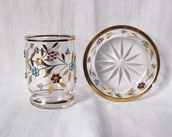 Vintage Jeweled Glass with Under Plate