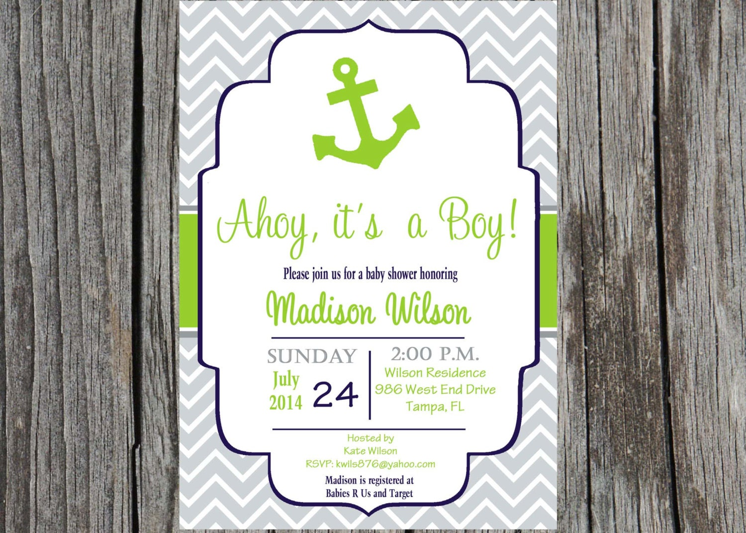 printed nautical baby shower invitation anchor by printyourevent