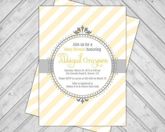 Yellow and Gray Baby Shower Invite - gender neutral baby shower invitations - modern diagonal stripes - DIY printabl or printed - WLP00774