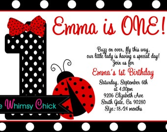 Red and Black Polka Dot Ladybug 1st Birthday Party Invitations - Printable or Printed, Ladybug Party Supplies, Ladybug Party Decorations
