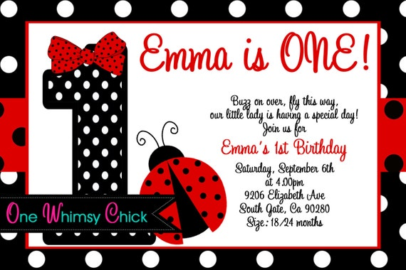 Red and Black Polka Dot Ladybug 1st Birthday Party Invitations – Ladybug Invitations 1st Birthday