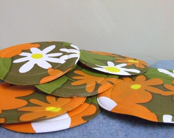 Groovy 1960s Foam and Vinyl Coasters - Pack of 8 non-slip