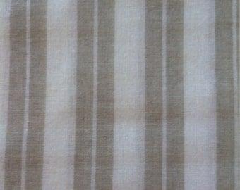 "Light Weight Woven Cotton Khaki and White Stripe Shirting Fabric 4 1/2 Yards X 44"" Wide"