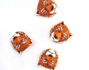 4 Tiger Head Peruvian Ceramic Beads