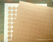 """2160 Kraft Stickers, 0.75"""" circles, recycled stickers, 3/4 in. (19mm) round stickers, kraft brown chocolate kiss stickers (20 sheets)"""