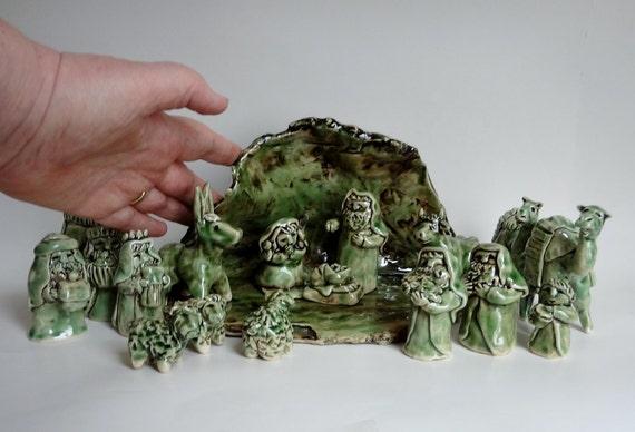 Nativity Set Creche Holy Family Pottery By