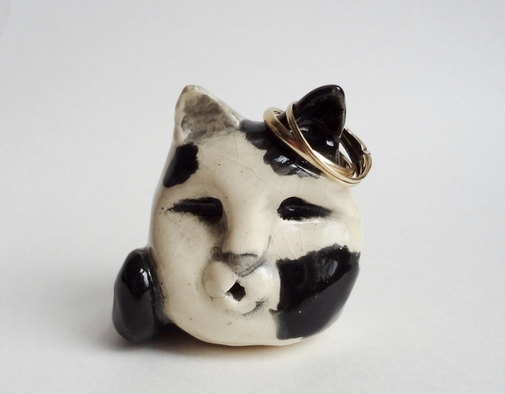 Amigurumi Kitty Ring Holder : Cat Ring Holder Hand Built Pottery Folk by ...