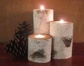 "Birch Candle Holders 7"",5"",3"" Home Decor  Wedding Decor 4"" in Diameter Reception Centerpieces"