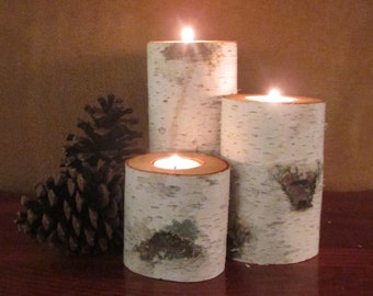 12 Birch Candle Holders  Home Decor  Wedding Decor  Reception Centerpieces