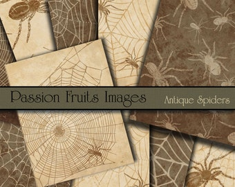 Antique Spiders on Parchment Halloween Digital paper pack, 10 designs, brown and cream--Instant Download