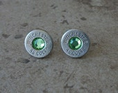 45 Colt Winchester Bullet Earring, Nickel Finish, Lightweight Thin Cut, Peridot Swarovski Crystal, Surgical Steel Post - 460