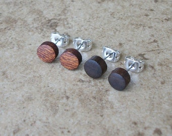 "Set Of 2 Tiny Wood Stud Earrings, Mahogany, Walnut, Natural Wooden Earring, Surgical stainless Steel Posts - 1/4""(6mm) - 222"