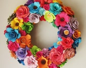 Paper Flower Spring Summer  13 Inch Wreath Assorted   Paper Roses  Great Birthday Gift Custom Order