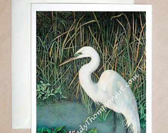 Great White Egret in natural habitat - water bird art on blank note card, pond reeds