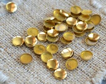 100pcs Flat Back Gold Finished Brass Hot-Fix Rhinestud 3mm Flat Round