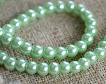 200pcs Glass Pearl Bead Round Light Green 4mm 2x16 Inches Strand