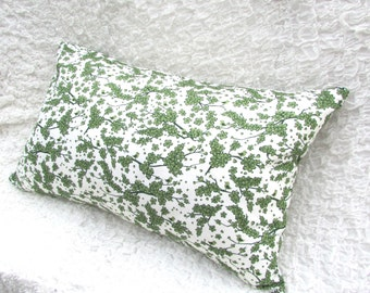 CLEARANCE Decorative Throw Pillow-Green and Cream Rectangle Pillow with little Birds and Flowers 24inx16in Rectangle
