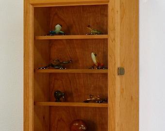 Cherry Hardwood Curio Display Wall Cabinet