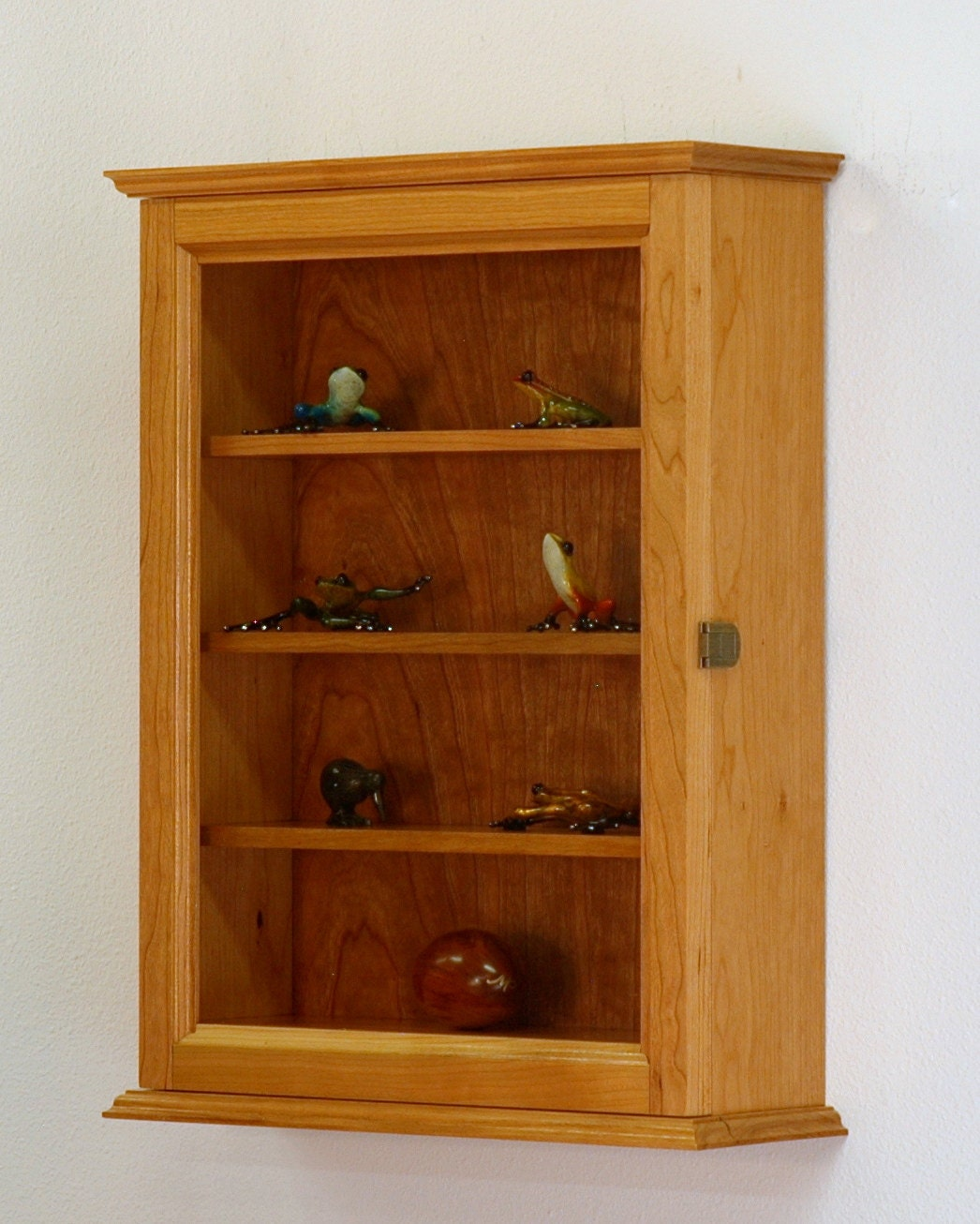 cherry hardwood curio display wall cabinet. Black Bedroom Furniture Sets. Home Design Ideas