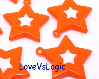 6 Huge Acrylic Star Charms. Dark Orange With White Star.