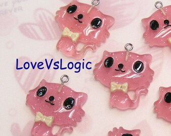4 Glitter Baby Cat with Bow Lucite Charms. Glitter Pink Tone