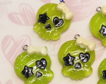 4 Glitter Baby Skull with Bow Lucite Charms. Lime Tone