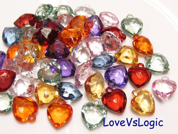 20 Heart Facet Acrylic Charms. Mix Colors. Jewel Tone.
