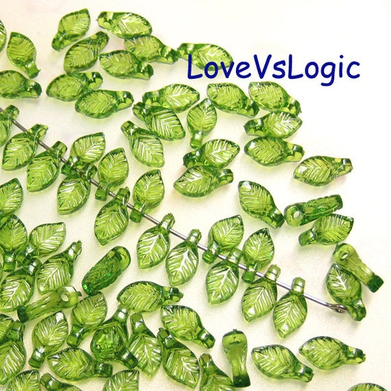 200 Baby Leaf Plastic Beads. Icey Green
