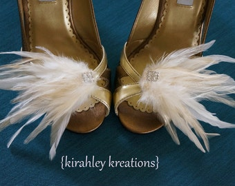 Bridal Feather + Rhinestone Wedding Shoe Clips MARY LOU Bride Shoes Light Ivory White Cream, Custom Bridesmaids Colors Prom Accessory