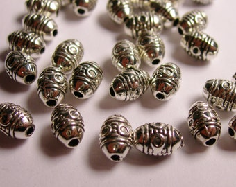 30 silver  beads  - hypoallergenic - engraved silver tube beads - Tibetan antique silver -   ASA13