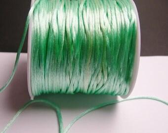 Satin Rattail Cord - knotting/beading cord -1.5mm - 65 meter - 213 foot - light green mint - SSC32