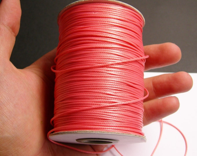 Polyester wax cord - 1mm - high quality - 160 meter - 524 foot - pink peach  - full roll -  PEC1