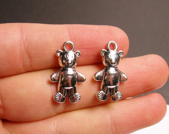 12 teddy bear -  silver tone teddy bear charm - 12pcs - ASA127