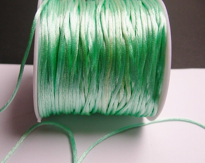 Satin Rattail Cord - knotting/beading cord -1.5mm - 65 meter - 213 foot - light green mint - SSC32