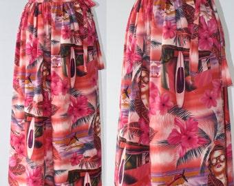 Hawaiian Skirt . Pink Tropical KAWAII Wrap Around Beach Skirt . Summer Long Cotton Maxi Novelty Print Skirt . Size Small